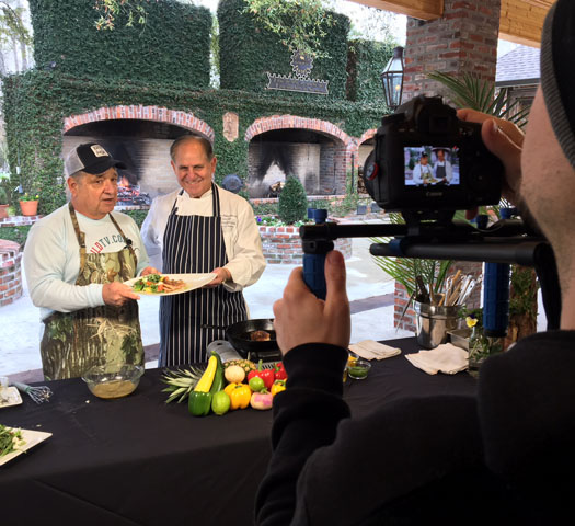 Don Dubuc filming a show at Chef Folse's White Oak Plantation