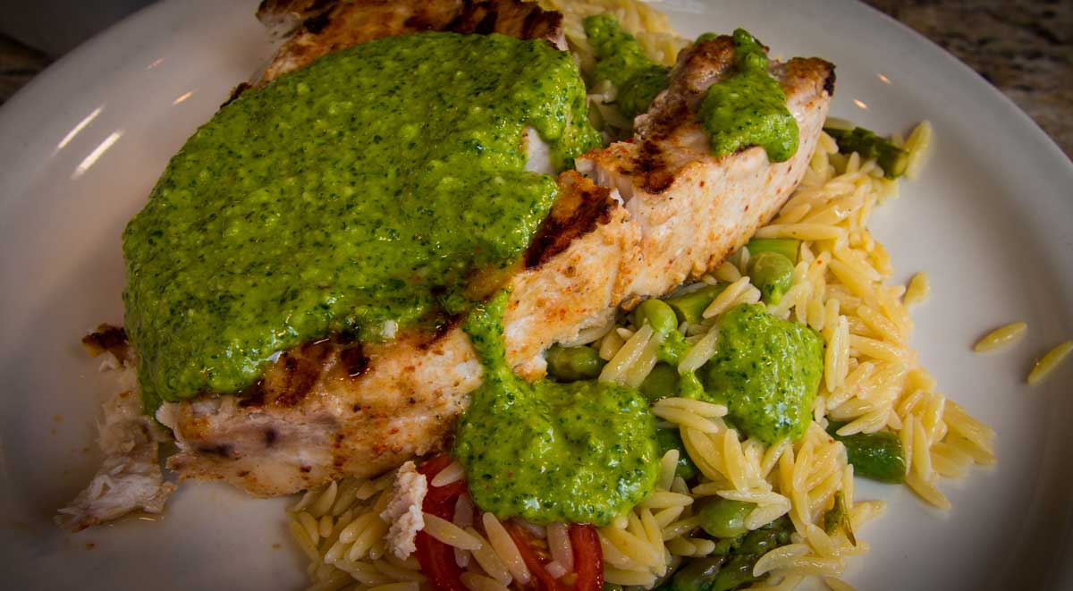 Grilled Swordfish Steaks with Salsa Verde