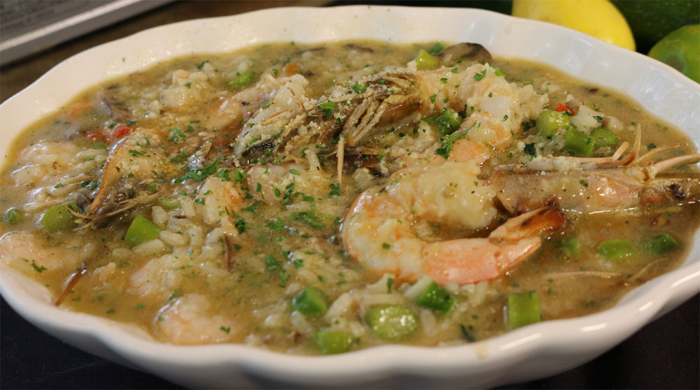 Risotto with Seafood, Oyster Mushrooms, Morels and Asparagus