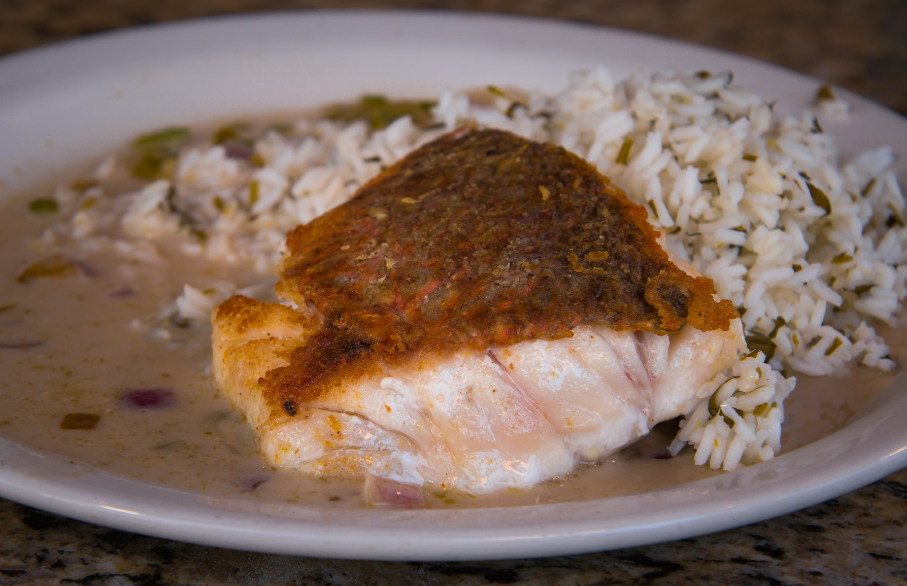 Thai Red Snapper with Cilantro Lime Rice and Coconut Curry Sauce